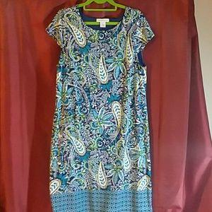 Liz Claiborne  midi dress. Lined. Blue,white,green